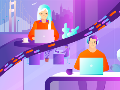 Video call between co-workers creative office city san francisco headphones co-workers call cafe 2d girl boy video trend explainer dribbble burnwe after effects animation illustration