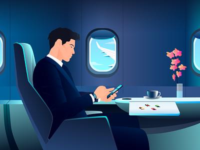 Businessman on airplane - Business trip app 2d burnwe phone airplane businessman man artwork character animation explainer video explainer illustrator characterdesign character illustration