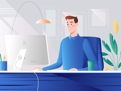 Working Man At The Office characterdesign shop web after effects illustrator burnwe animation artwork design character explainervideo explainer 2d blue illustration office man working