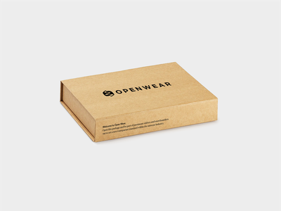 Open Wear packaging ecomerce brand strategy mockup print graphicdesign graphic design cardboard box package photography font serif sans serif typography branding mark logo packaging package design