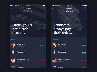 Debt Tracker ux ui app mobile ios list wallet finance tracker debt
