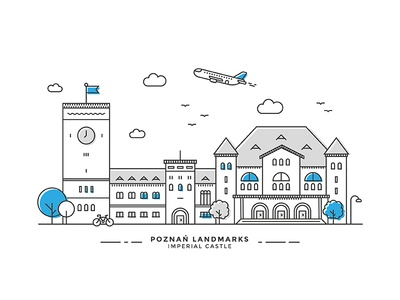 Poznan Landmarks #01 building bicylcle plane city landmark imperial poznan castle illustration line vector