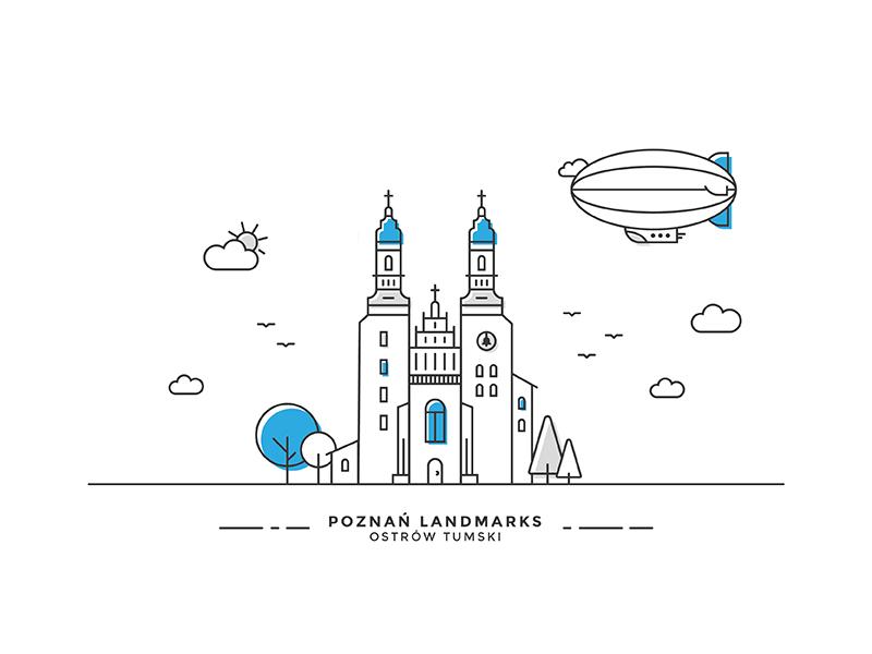 Poznan Landmarks #02 vector line illustration poznan ostrow landmark church plane zeppelin building