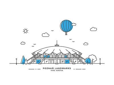 Poznan Landmarks #06 arena vector line illustration poznan landmark city baloon building