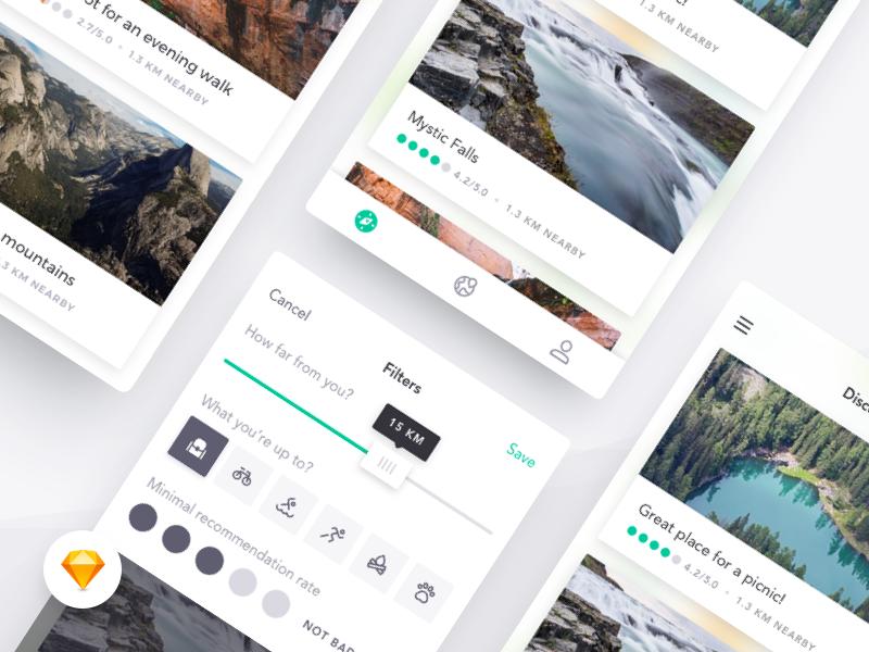 Harmony UI Kit - Filters slider filters cards location concept app mobile sketch freebie free ui