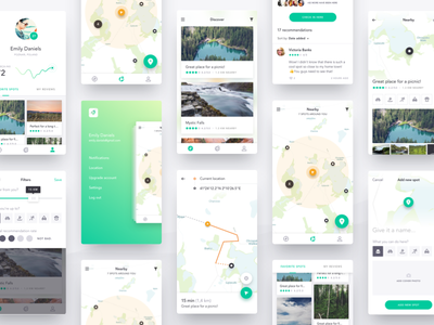 Harmony UI Kit - Summary profile hiking location concept app mobile sketch freebie free uikit kit ui