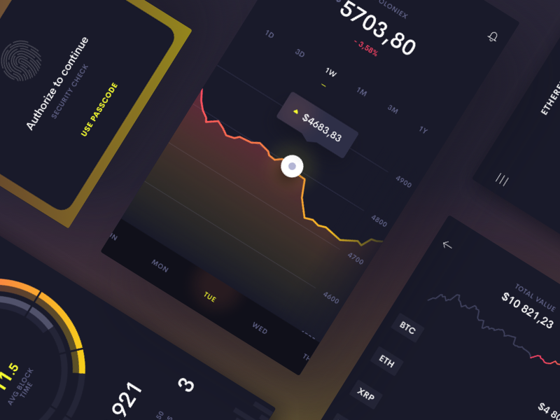 Midnite UI Kit - Sneak peek statistics wallet currency cryptocurency crypto chart graph stats ios mobile ki ui