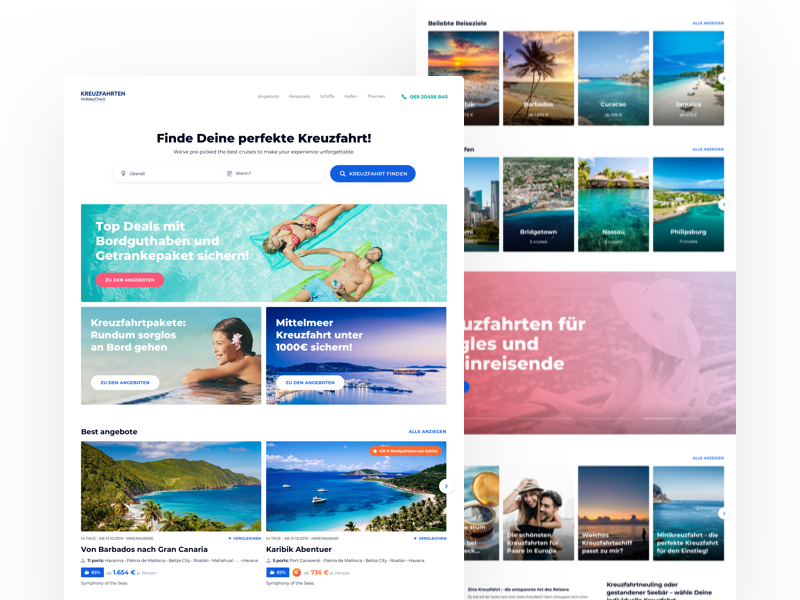 HolidayCheck Cruises - Homepage 2.0 travel minimal offers teasers homepage website landing cruises