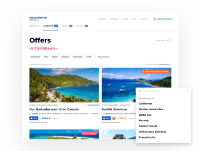 HolidayCheck Cruises - Offers destinations filters ui travel grid offers cruises
