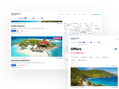 HolidayCheck Cruises - Offers map cruises offers grid travel ui filters destinations