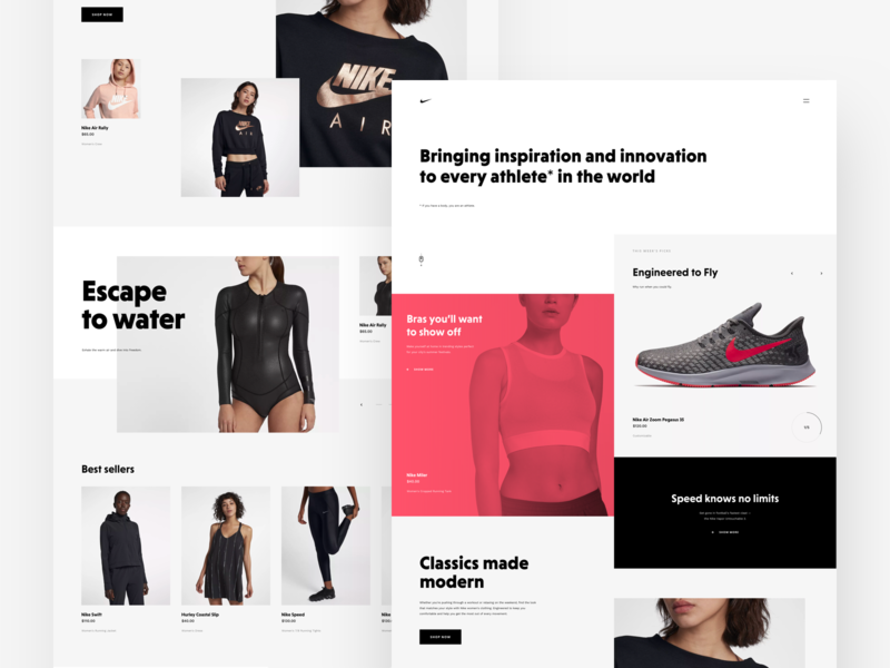 Nike Store Concept – Homepage #2 typography design landing  page homepage webdesign ecommerce shop redesign nike freebie sketch web