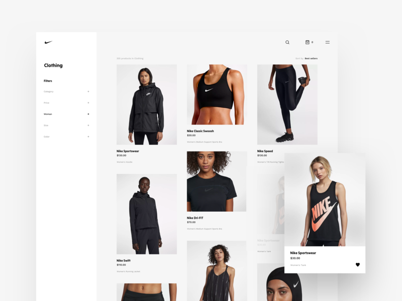 Nike Store Concept – Products products page store product grid products web sketch freebie nike redesign shop ecommerce webdesign design typography