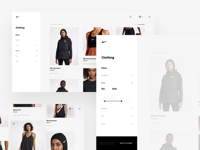 Nike Store Concept – Filters sidenav filters webdesign ecommerce shop redesign nike freebie sketch web products product grid store products page