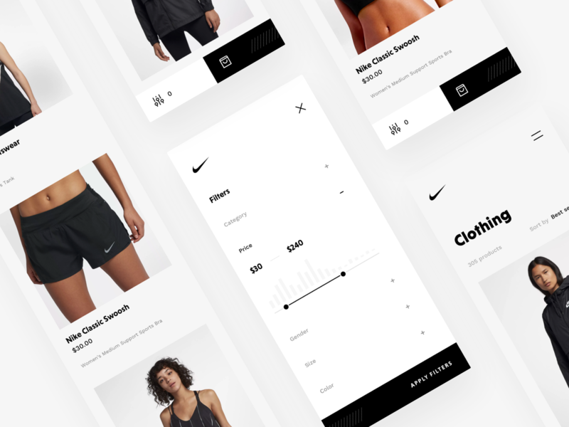 Nike Store Concept – Products Mobile products product page product list typography design webdesign ecommerce shop redesign nike freebie sketch mobile responsive rwd