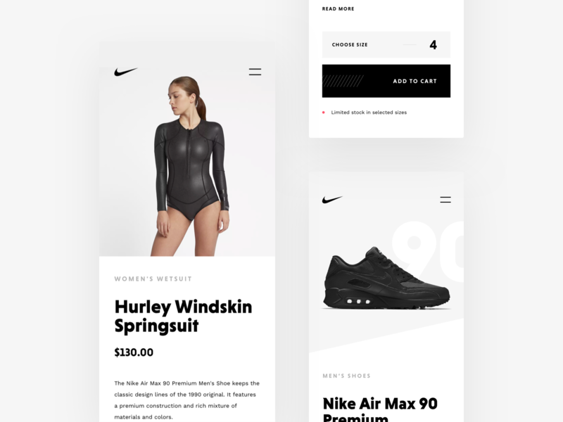 Nike Store Concept – Product Details Mobile ui responsive rwd mobile webdesign ecommerce shop redesign nike freebie sketch web store concept product details product page product