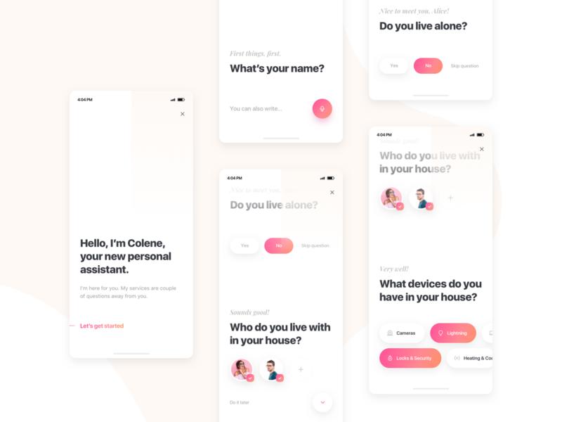 Smart Home Assistant - Conversational Onboarding smart home personal assistant survey questions conversational chatbot mobile ui onboarding
