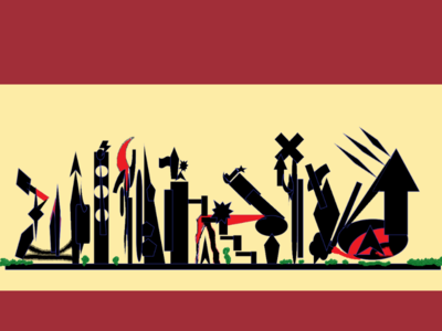 Flag of Militopia archaeology structure death metropolis metallic darkness black weaponry city compound military