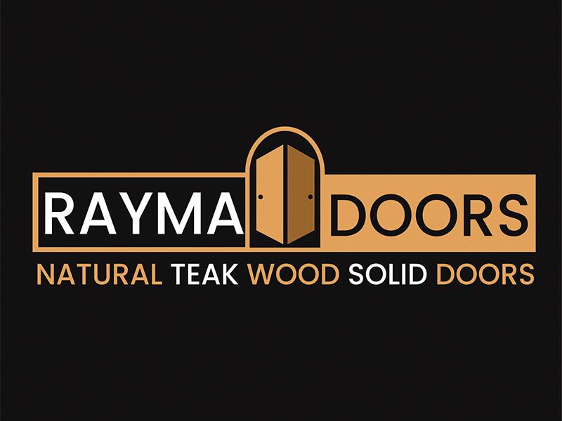 Rayma Doors Logo doors teak wood identity logo printing graphic design branding teak logo door logo logo design wood logo