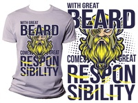 With Great Beard Comes Great Responsibility-Viking Tshirt