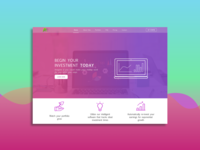Investment software landing page concept