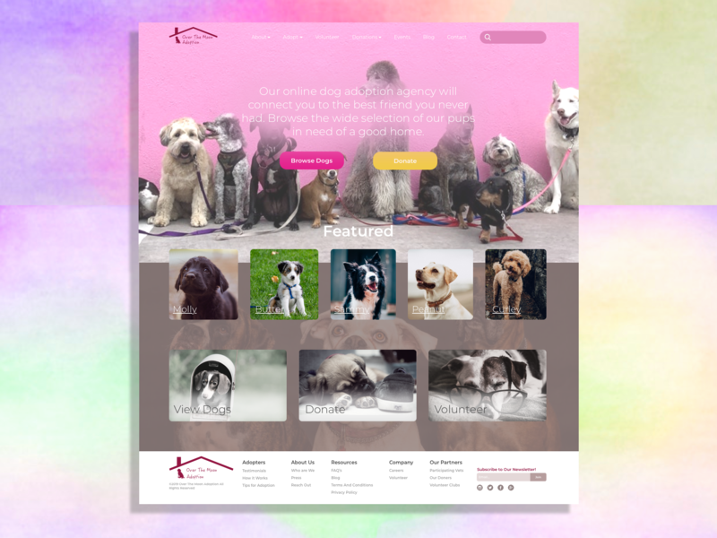 Over The Moon Adoption pet adoption adoption hero area web interface web ui web app icon ux branding ui logo sketch app adobe vector sketch photoshop design