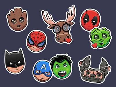 Personal Sticker Pack stickermule superhero icons characters icons superheros stickers
