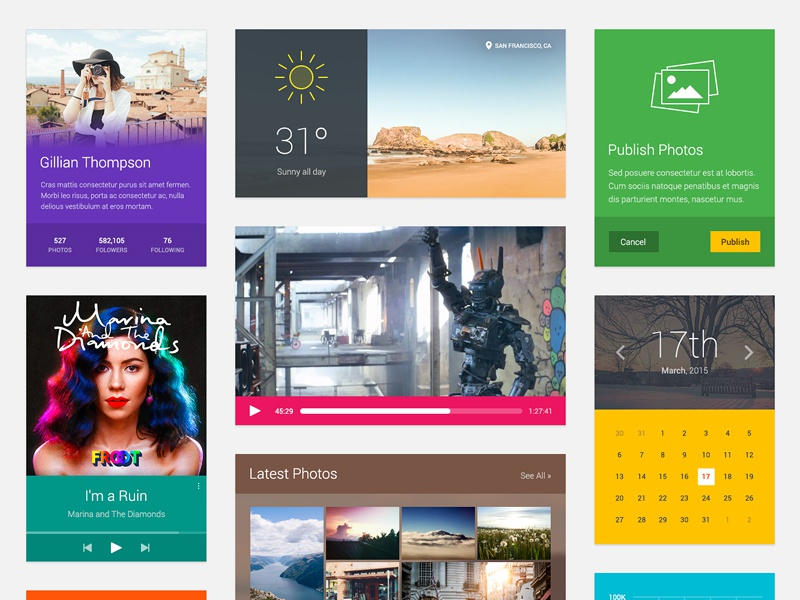 Joocy UI Kit - Download ui kit ui joocy download flat android clean colorful