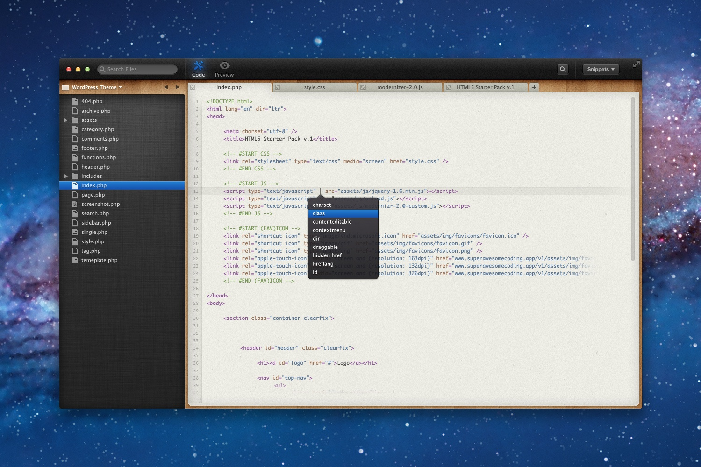 Coding app with file browser v.3