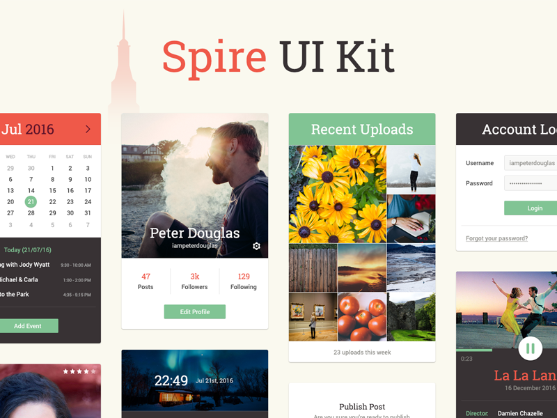Spire UI Kit - Free Download download flat modern ui kit