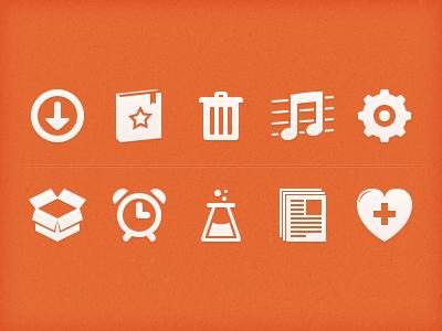 Orange Icons icons orange heart book box beaker gear trash clock paper arrow