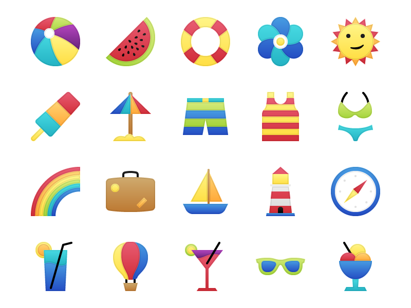 Garland - 25 Summer Vaction Icons free vacation summer icons