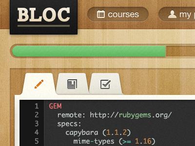 Bloc  bloc wood ui icons tabs progress inset