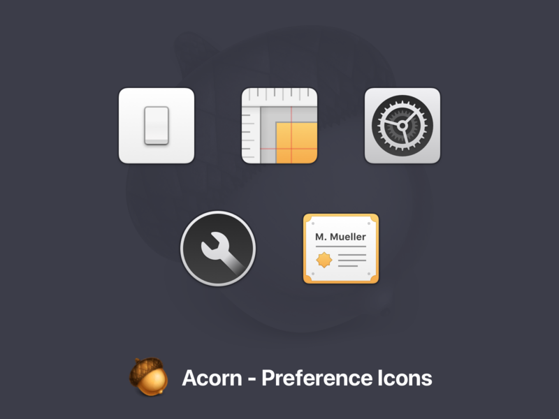 Acorn Preference Icons settings preference icons icons app macos acorn