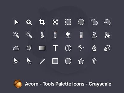 Acorn Tool Icons - Grayscale monotone tool icons icons app macos acorn