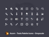 Acorn Tool Icons - Grayscale