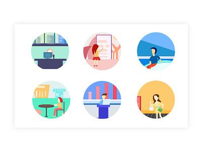 一组插画图标 插图 概念 插画 配色