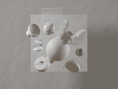 WK_R_03 - Eevee preview experiment shapes clay abstract 3dfordesigners eeveee eevee render graphic composition blender3dart blender3d b3d 3d