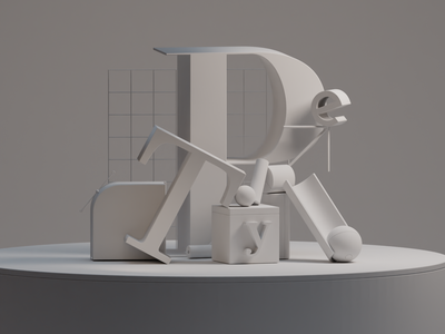 Clay type cycles cycles render blender b3d render early render typography composition 3d