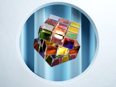 Icy Rubik's cube experiment 3d 3dfordesigners test experiment composition glass cyclesrender b3d blender3d