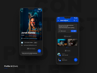 Contact Profile dark theme UI