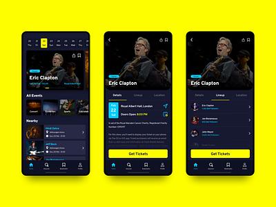 Event App - 1 mobile app mobile sketchapp concert simple design event app typography app concept ux ui minimal clean