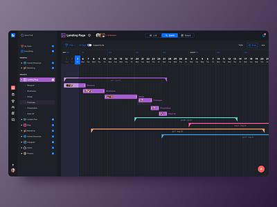 Project management app - Gantt chart screen dark ui color palette colorful gantt chart chart gantt project management project tablet figma typography design desktop app desktop app concept minimal clean ux ui