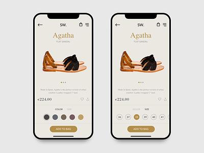 Shoe Brand Store App Concept iphonex simple brown color white mobile app shoes ux ui grid e-commerce concept minimal clean