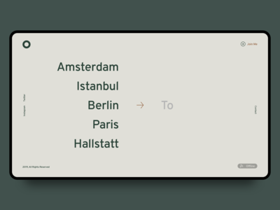 Minimal Travel Blog. City Selection Screen 1