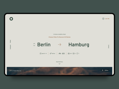 Minimal Travel Blog. City Selection Screen 2