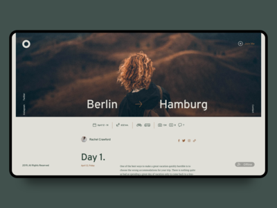 Minimal Travel Blog. Post Screen