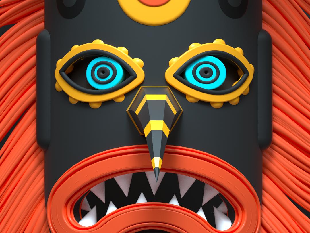 KUKERI mask animation acrime adobe cartoon design 3d illustration