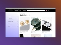 Ecommerce 'filter by' menu exploration