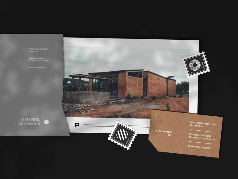Punto Equilibrio® card design print icon poster cardboard postal service design logo branding kraft envelope stationary business card architecture photograhy card postal