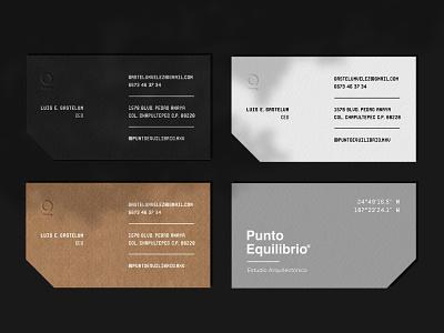 Punto Equilibrio® icon logo architecture kraft design card design cardboard card business card branding
